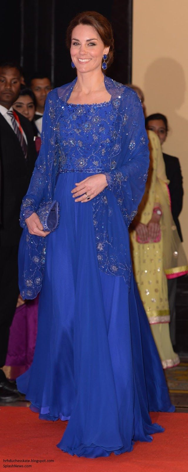 hrhduchesskate: Royal Tour 2016-Bollywood Reception, Mumbai, India, April 10, 2016-The Duchess of Cambridge wore a bespoke sapphire blue gown by Jenny Packham, with hand beading worked in India, accessorized with a custom evening bag and Lapis and Diamond Double DropEarrings earrings by Indian jeweller Amrapali
