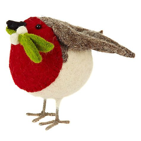 Buy Scandi-chic Standing Robin With Mistletoe, Small Online at johnlewis.com