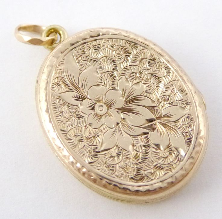 Antique Gold Photo Locket Pendant with Floral Engraving - The Collectors Bag