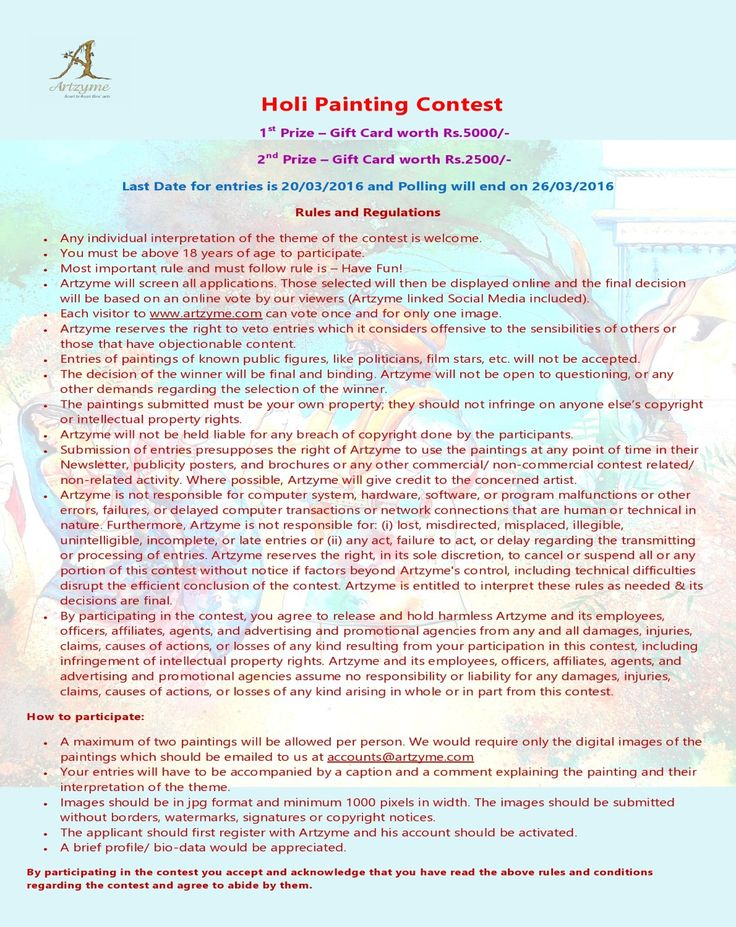 Artzyme Holi Painting Contests Closes on 20/03/2016