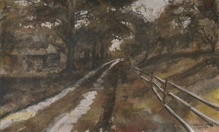 In the Beskids in autumn. Watercolor, ink. Author: Witold Kubicha