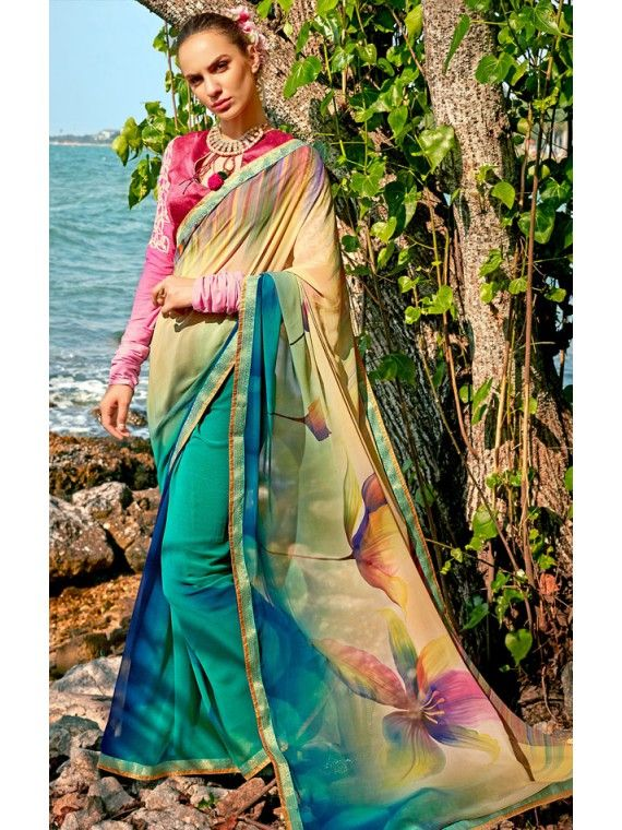 Admirable Beige and Green Digital Printed Saree