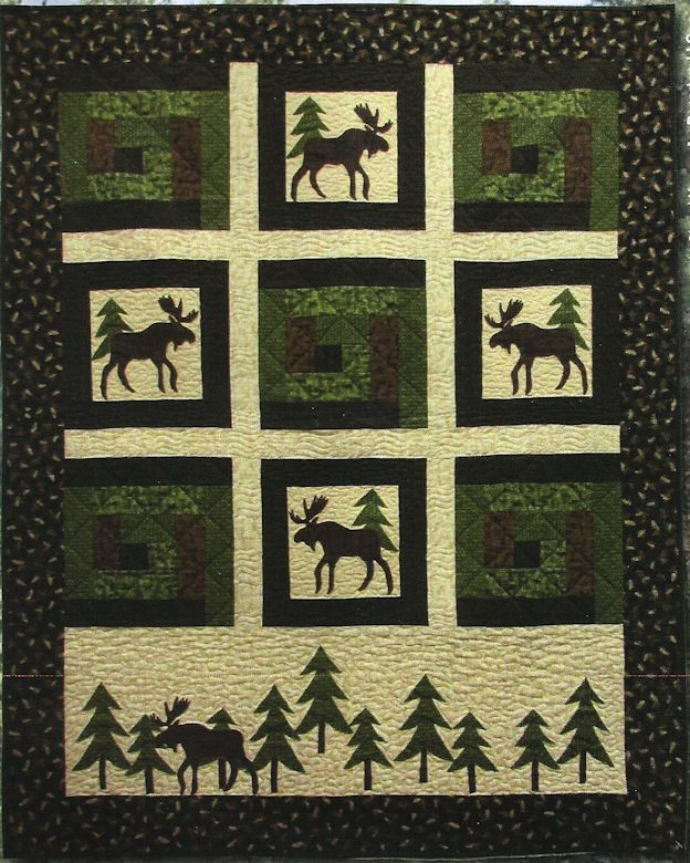 Moose In The Cabin Quilt Kit & Pattern- this is getting close to ideal color scheme for masculine quilt