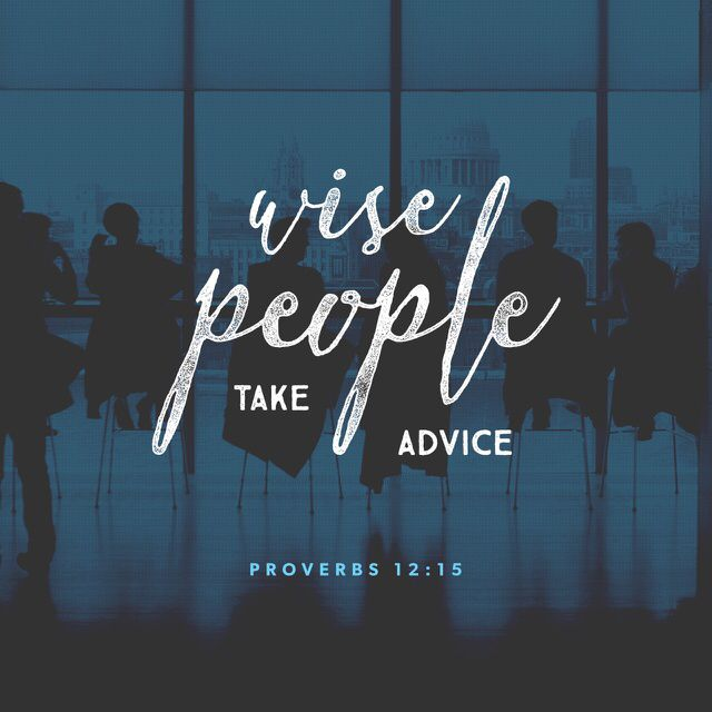 """""""Fools see their own way as right, but the wise listen to advice."""" Proverbs 12:15 CEB http://bible.com/37/pro.12.15.ceb"""