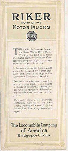 1917 Riker 4 Ton Truck Brochure A & P Yuban Coffee Zero Lene Standard OIl