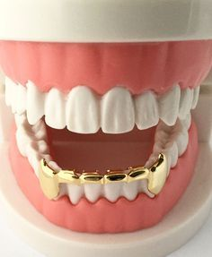 Hip Hop 14K Gold Plated Mouth Teeth Grills Grillz - Bottom Lower Fangs S020-H #BigDawgsBling