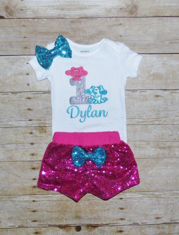 Sequin Shorts and Hair Bow ~ Customize in any colors! Blues Clues Birthday Outfit ~ Blues Clues Outfit ~ Includes Top