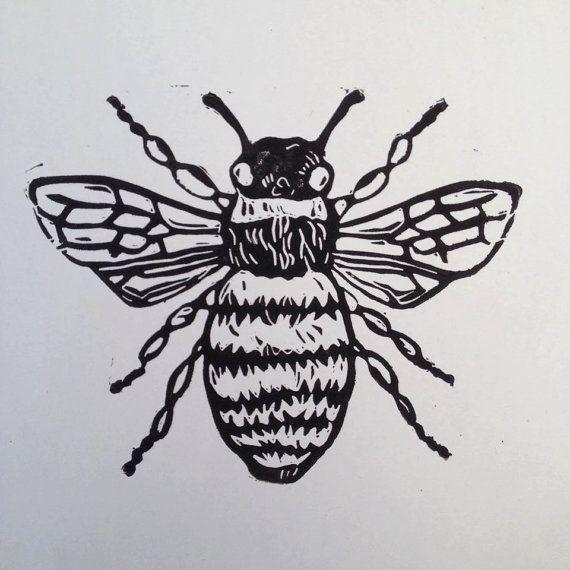 Bee linocut