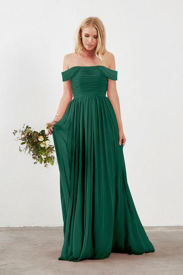 Riley Bridesmaid Dress In Emerald Green Chiffon