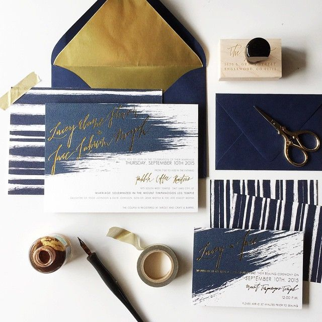 """Invites for Lacey & Jace! So excited for these two awesome people  #foilandink #weddingannouncements #goldfoil"""