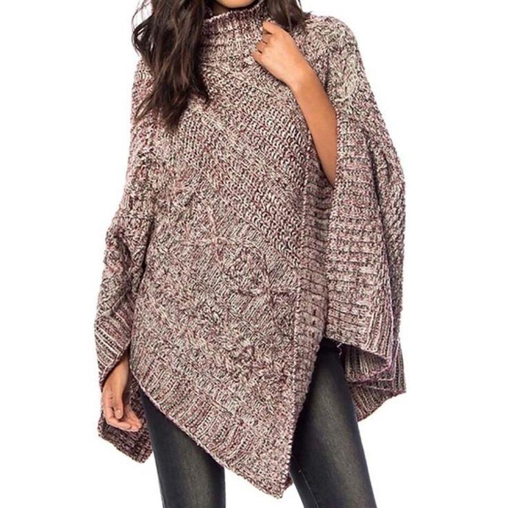 SOUTHERN GIRL FASHION $58 Draped Sweater Poncho Bohemian Layering Cape OS S M L #Boutique #Poncho #Work