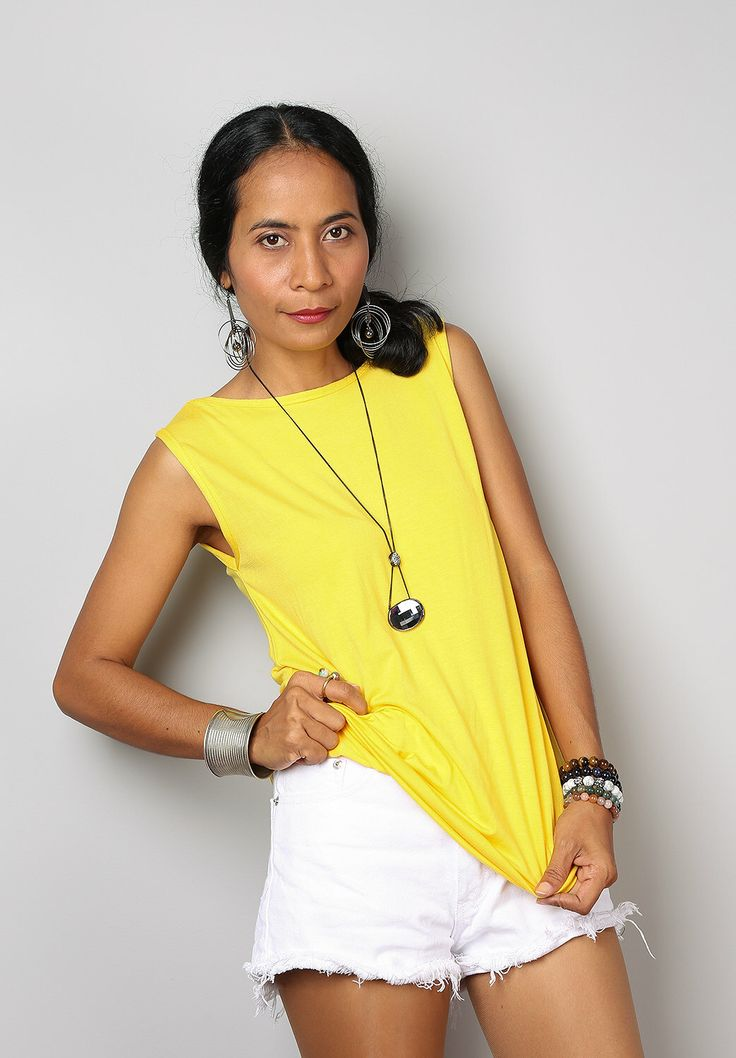 Yellow Top / Sleeveless Yellow T Shirt / Yellow Tank Top : Urban Chic Collection No.4 by Nuichan on Etsy https://www.etsy.com/listing/232981700/yellow-top-sleeveless-yellow-t-shirt