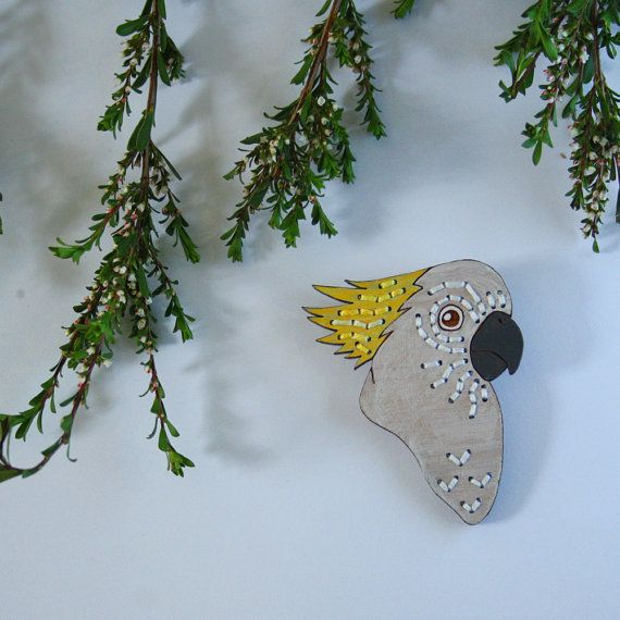 Sulphur-Crested Cockatoo Embroidered Birdie by WinnifredsDaughter