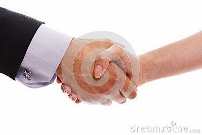 Man and woman handshake closeup on white background.