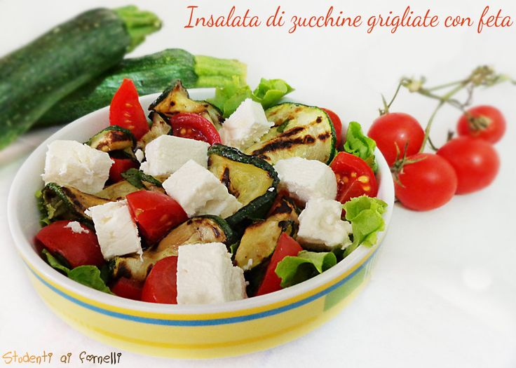 insalata di zucchine grigliate con feta e pomodorini ricetta insalata estiva ( se non avete la feta provate con del quartirolo)