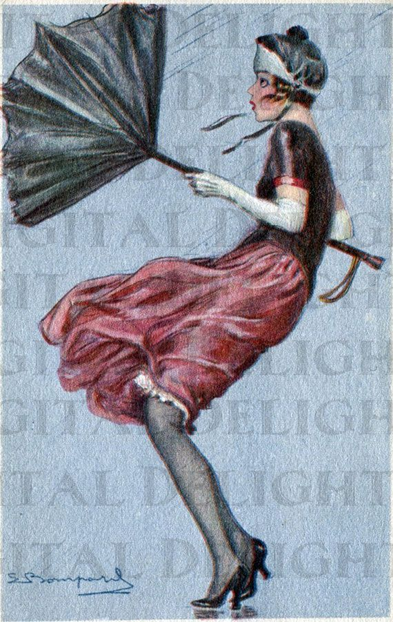 MARCH Wind Creates Havoc. VINTAGE by DandDDigitalDelights on Etsy, $1.99