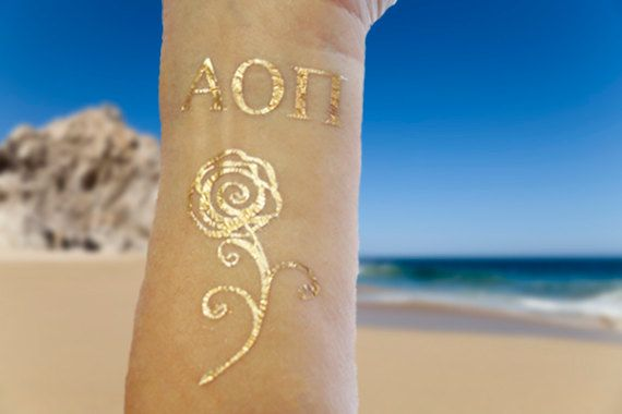 Gold Sorority Tattoos Sorority Tattoos Alpha Omicron by SkinJewels