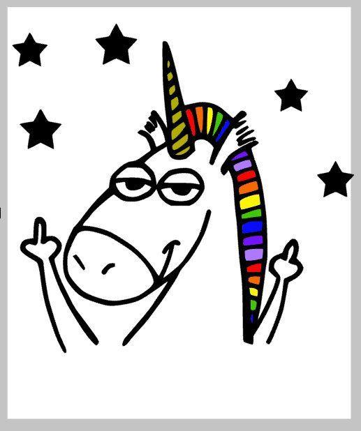 Wasserrutsche Abziehbild Up Yours Unicorn With Rainbow Hair Ein Bild Gedrucktes Wasserrutschpapier Fur Glitzer Epoxidbecher Wasserrutsche Abziehbilder Papier