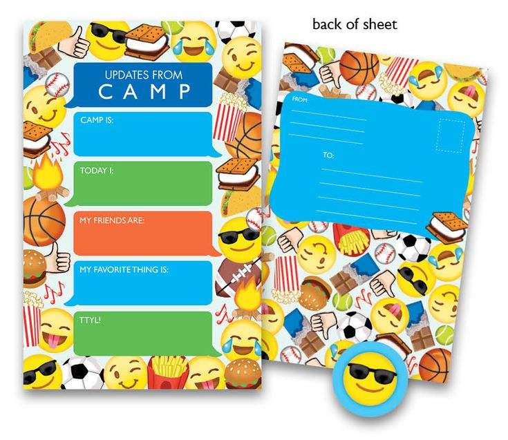 """Are you looking for some cool, unique stationery to send away with your kids on their trip to camp? Your search is over. Polka Dot Designs offers a lot of fun and cute camp stationery but this Boy Emoji Kid's Camp stationery by Bonnie Marcus is too awesome to pass up! The design features text on the top center that says, """"Updates from Camp"""". The text is in a blue speech bubble that looks a lot like texts or instant messages. The body of the stationery sheet is a collection of these speech…"""