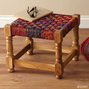 This stool was based on the design of a traditional Indian bed. Kids immediately sit on this when they are in the store!  Furniture - Bright Charpoy Stool | SERRV