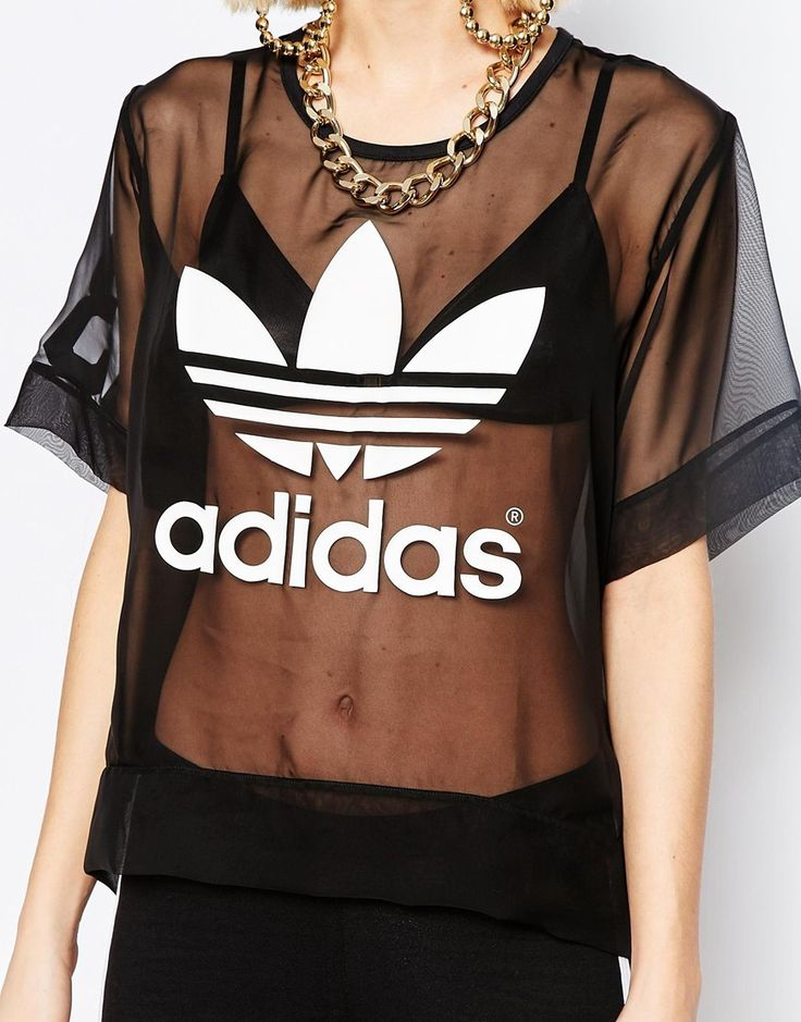 Image 3 ofadidas Originals Sheer Woven T-Shirt With Trefoil Logo