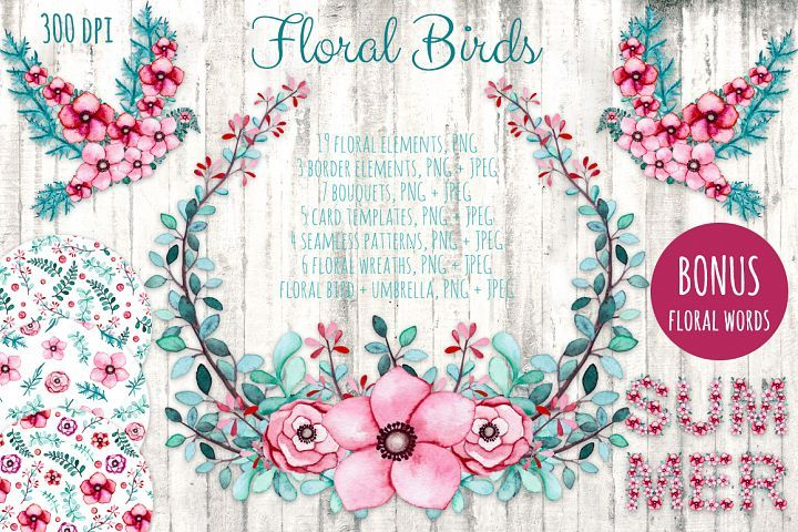 Free This collection of high quality watercolor floral elements. Included are flowers, leaves, wreaths, seamless patterns, card templates, border elements, bouquets + BONUS floral words SUMMER, SMILE and LOVE. #ad