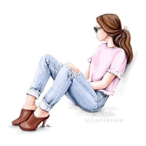 Jean  Fashion Illustration  Digital Download by StyleOfBrush