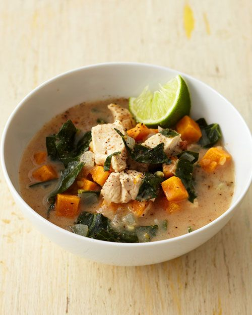 Almond Chicken Soup with Sweet Potato, Collards, and Ginger - Whole Living Eat Well: Almonds Butter, Almond Chicken, Almonds Chicken, Chicken Soups, Decade Texture, Recipes, Almond Butter, Sweet Potatoes, Chicken Breast