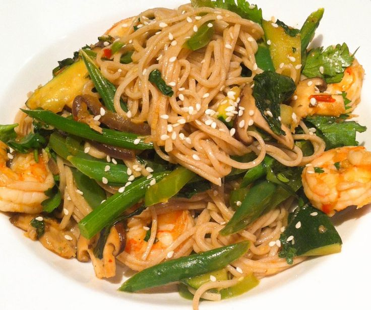 Stir fried Prawns with Soba Noodles and Greens