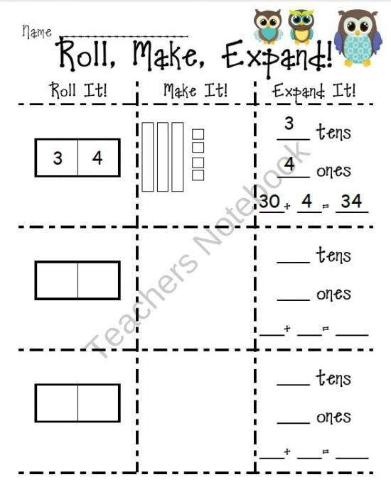 Roll, Make, Expand Place Value Recording Sheet product from FirstGradeFiveandDime on TeachersNotebook.com