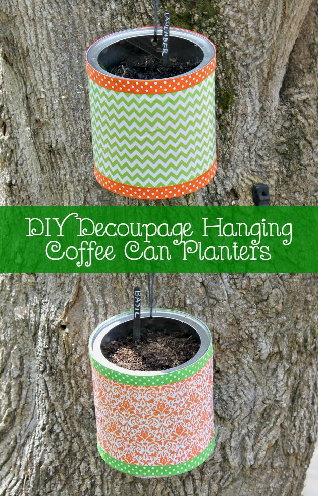 Do not toss your empty coffee cans! You can upcycle them into these adorable DIY Decoupage Hanging Coffee Can Planters to brighten up the garden!