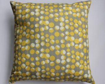 "Pillow cover - Amy Butler  ""Martini Mustard "" print -  fits a 20x20 - 100% Cotton"