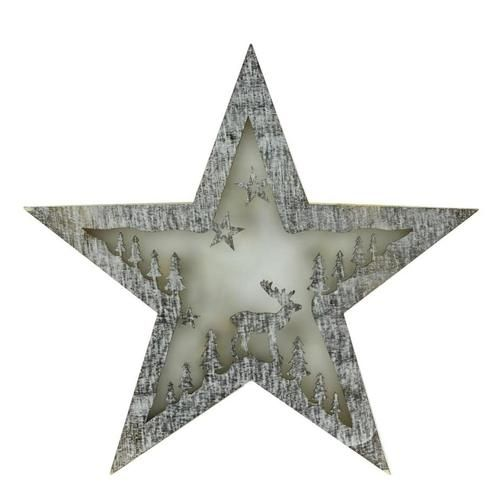 "10"""" Battery Operated LED Lighted Rustic Wooden Star Christmas Decoration - Deer"