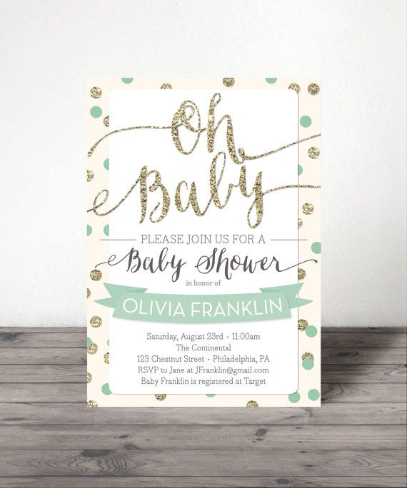 I love the cream, mint & gold. Very sophisticated and gender neutral! Oh Baby Baby Shower Invite Pink Mint or by CreativeUnionDesign