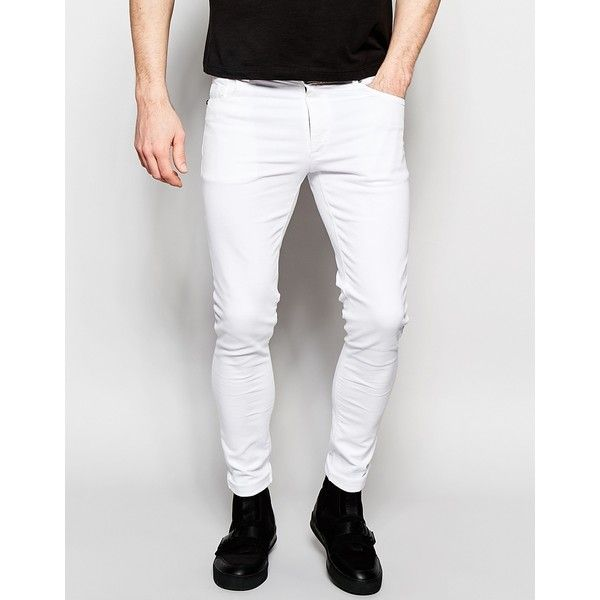 Dark Future Extreme Super Skinny Jeans In White ($48) ❤ liked on ...
