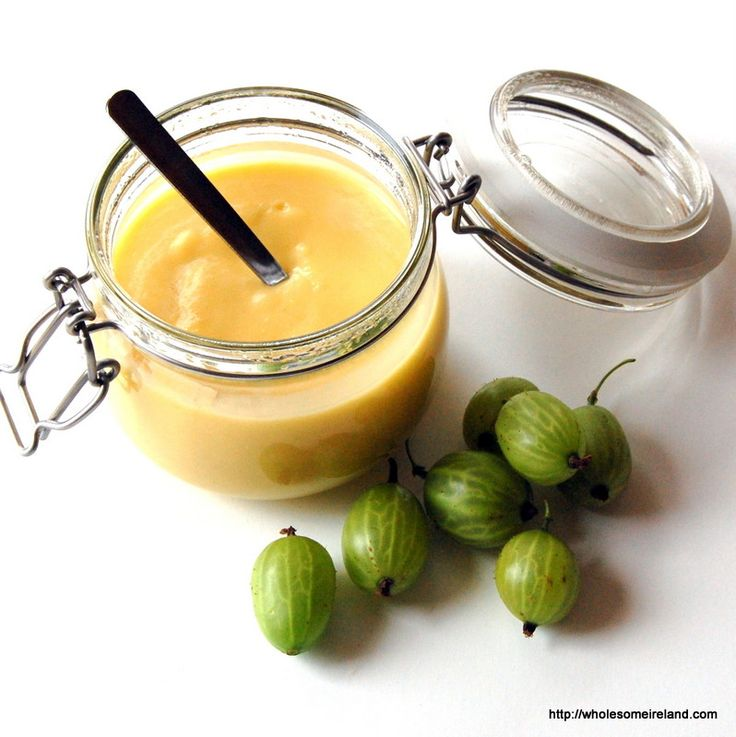 Gooseberry Curd. Very nice. Use really low temperature, or egg will curdle.
