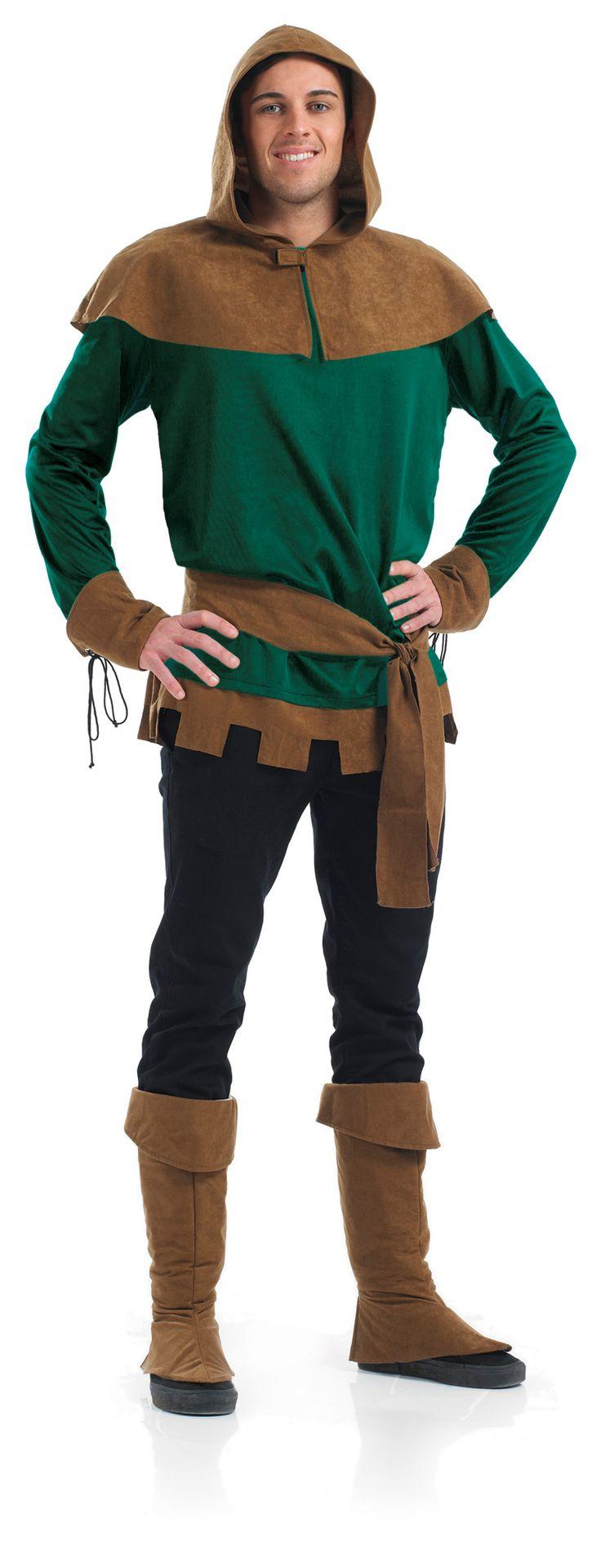 robin hood mens fancy dress book week fairytale adult costume outfit hood new - Triple H Halloween Costume