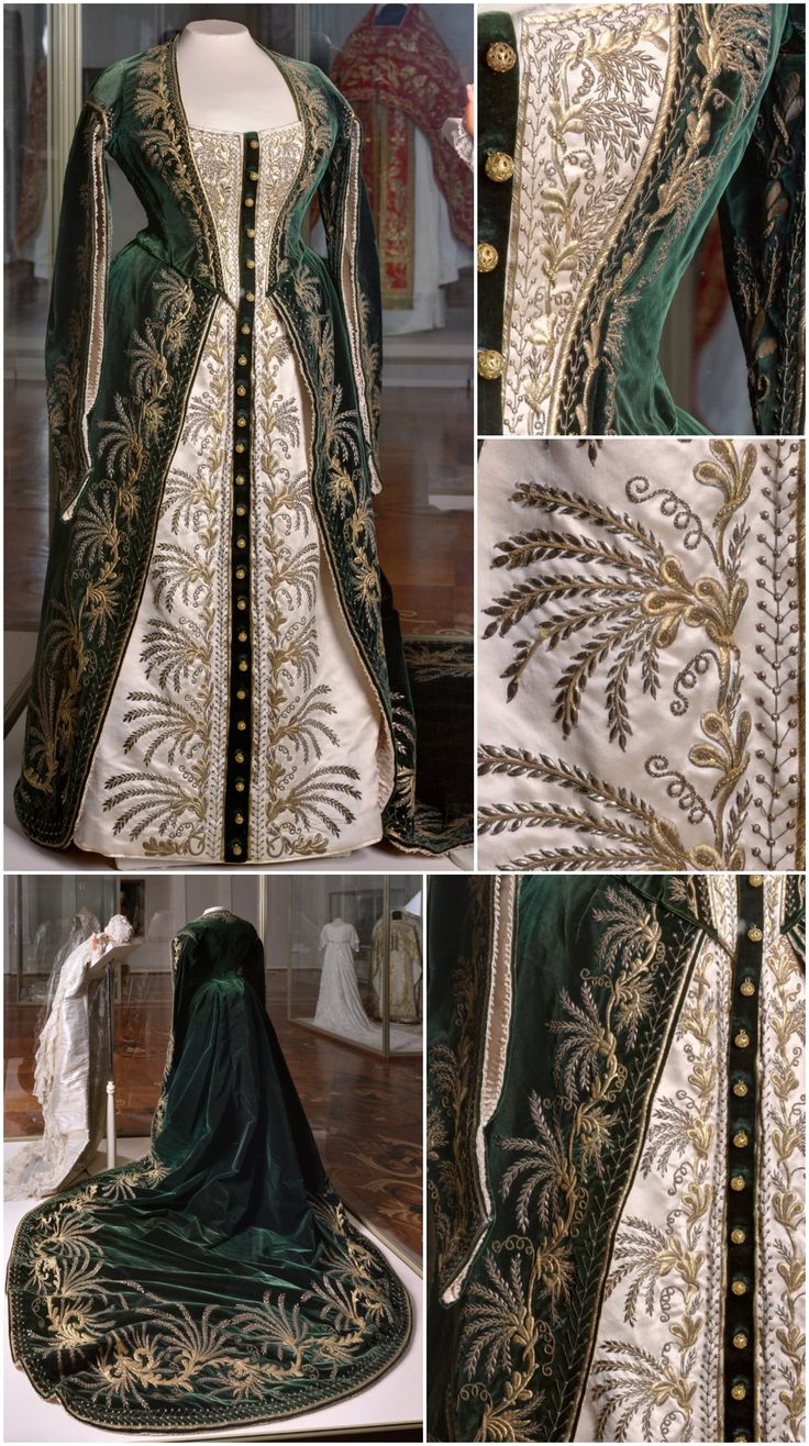 Lady-in-waiting's ceremonial court dress, O. Bulbenkova's workshop, St. Petersburg, late 19th century. State Hermitage Museum, via Teatime at Winter Palace's Tumblr. According to the Alexander Palace Time Machine, ladies-in-waiting were married women who wore a green velvet court gown; they occupied a higher position in the Imperial Household than the maids of honor, unmarried women who wore crimson velvet. CLICK FOR VERY LARGE IMAGES.