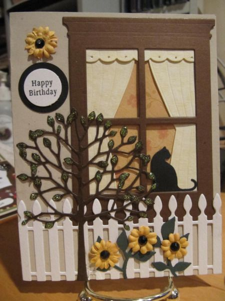 Memory Box Window and Cat by seeker329 - Cards and Paper Crafts at Splitcoaststampers