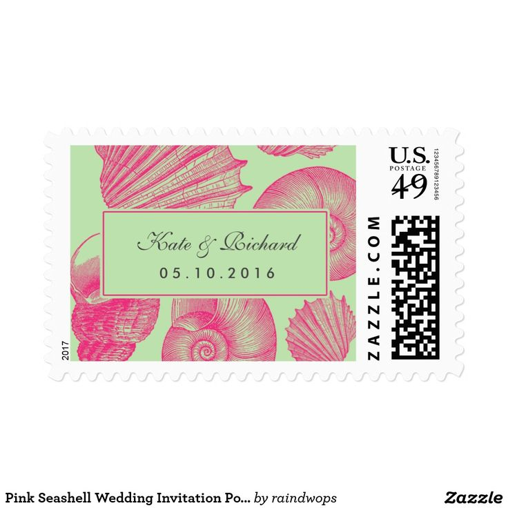 Pink Seashell Wedding Invitation Postage Stamp Vintage seashell postage stamp for your wedding invitation. Rustic and classic style for beach wedding, nautical wedding, dinner by the sea ocean. Personalize postage stamp for any occasion like bridal shower, baby shower, wedding, engagement party, anniversary, save the date and many more. Matching stickers for envelope seal available in my zazzle shop.
