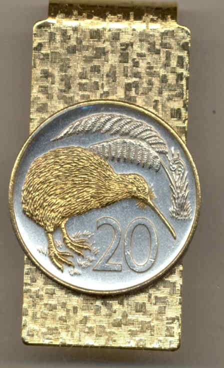 Gorgeous 2-Toned Gold on Silver New Zealand Kiwi, Coin - Money clips