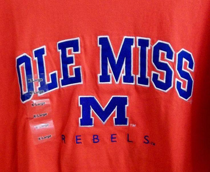University Of Mississippi Ole Miss Rebels Embroidered T-Shirt Adult X-Large New #OldVarsityBrand #OleMissRebels