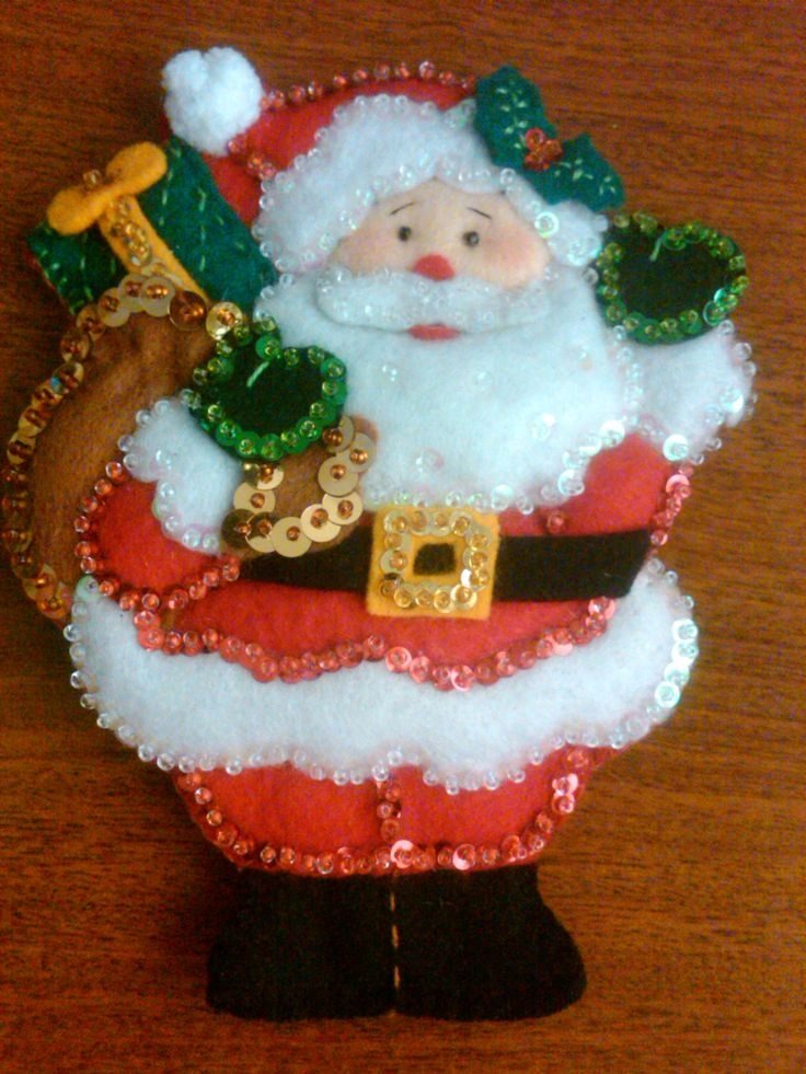Porta cubiertos navideño en fieltro