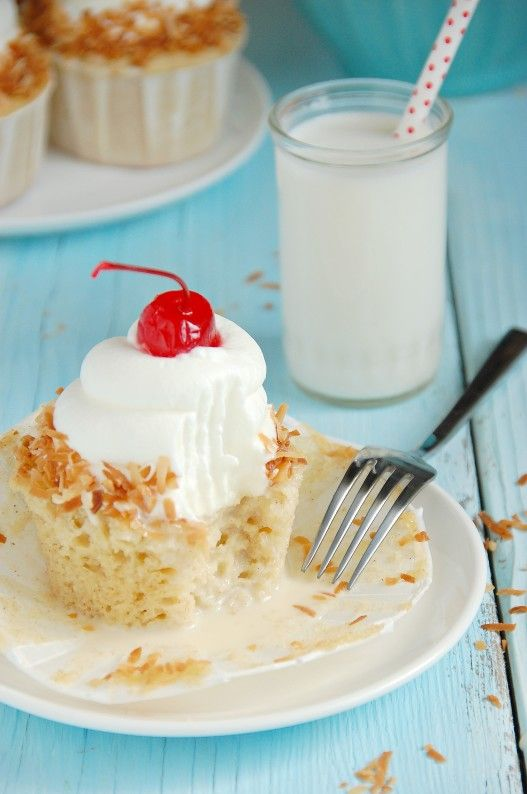These tres leches cupcakes are one of my favorite cupcakes of all time. Dense, lightly cinnamon spiced cake is soaked with three different types of milk, chilled, and topped with an exorbitant amount of whipped cream and sweet, crunchy, toasted coconut. I love cold, creamy cupcakes, especially when they involve heavy cream and maraschino cherries. …