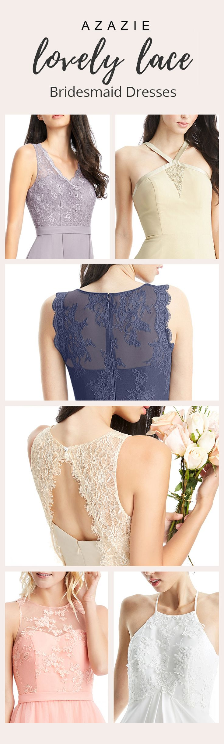 Dress your bridesmaids in a romantic lace style! Available in over 30 colors, Azazie is a bride's (& bridesmaid's) best friend!