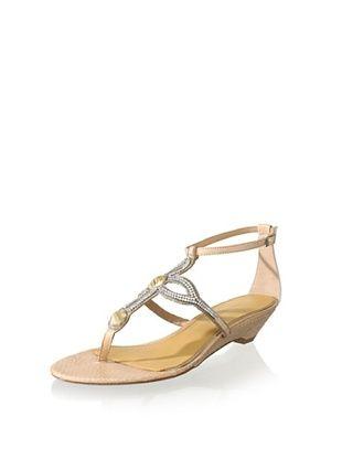 80% OFF Badgley Mischka Women's Coye Wedge Sandal (Natural Snake)