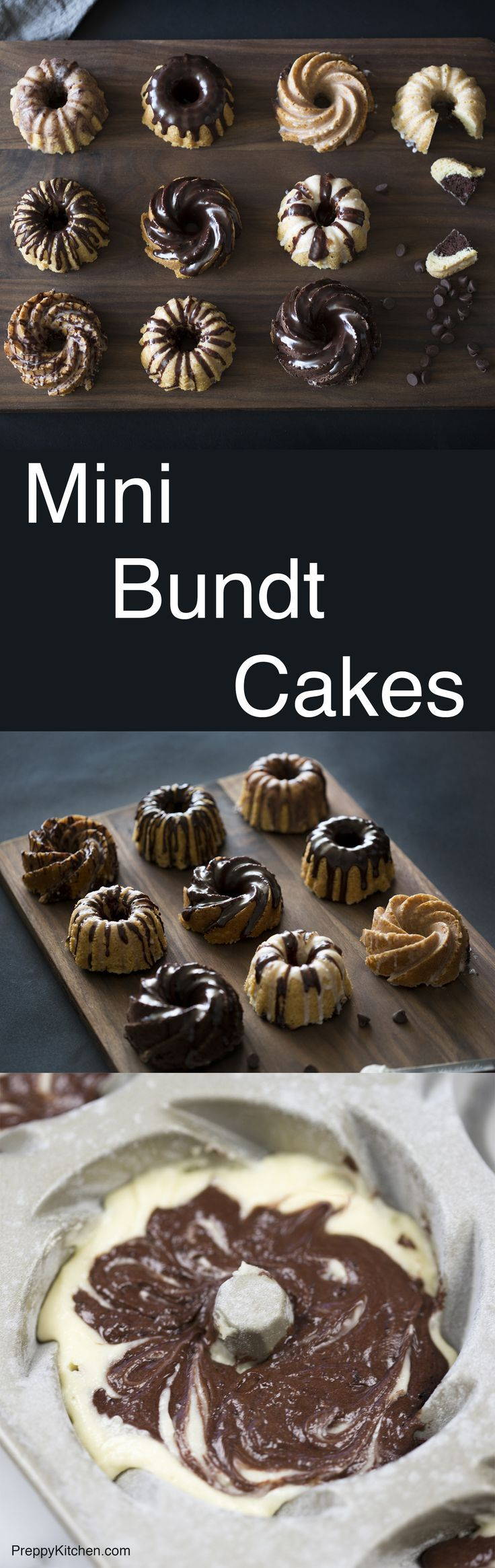 Chocolate and vanilla together at last! These mini bundt cakes can be decorated  a million different ways but they're still delicious. Click over to check out the full recipe.