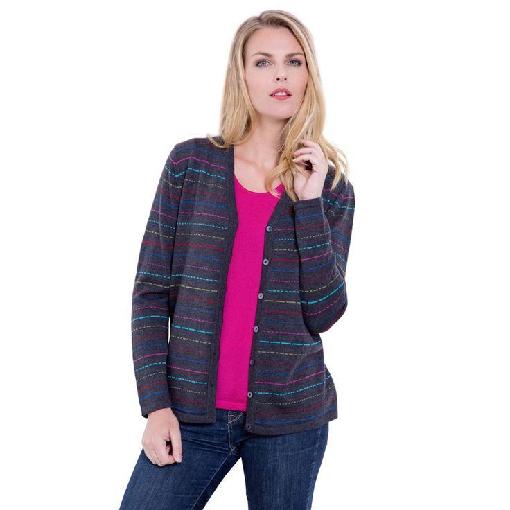 Merino Deluxe Multi Dash CardiganDistinctive, pure Merino cardigan with a versatile, multi-colour design. Try wearing this over the matching colour sleeveless tops for a contemporary twinset (as seen on the model).Beautifully soft and with a flattering drape you'll love wearing.- Versatile colourway that you can wear with anything: charcoal body with multi-coloured design- V- neckline- Ribbed cuffs and hem- Matching colour Merino Sleeveless Tops also available- Whole garment