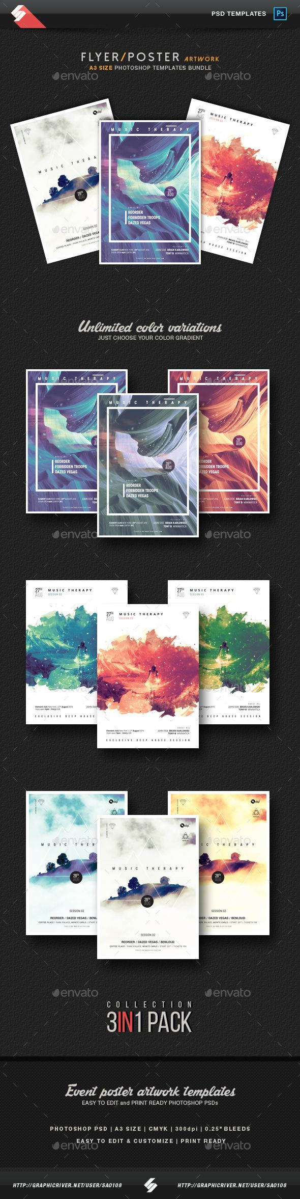 Poster design zeixs - Music Therapy Collection Party Flyer Poster Templates Bundle