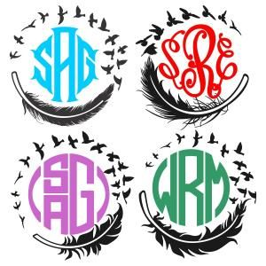 Feather with Flying Birds Round Shape Monogram Cuttable Design Cut File. Vector, Clipart, Digital Scrapbooking Download, Available in JPEG, PDF, EPS, DXF and SVG. Works with Cricut, Design Space, Sure Cuts A Lot, Make the Cut!, Inkscape, CorelDraw, Adobe Illustrator, Silhouette Cameo, Brother ScanNCut and other compatible software.